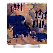 Rock Art No 3 Elephant Sighting Shower Curtain