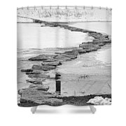 Rock Lake Crossing In Black And White  Shower Curtain