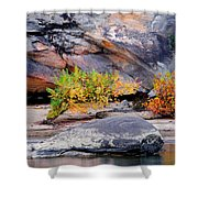 Rock Shrub And Bluff At Cumberland Falls State Park Shower Curtain