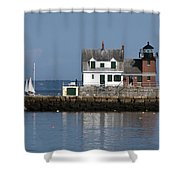 Rockland Breakwater Lighthouse Shower Curtain