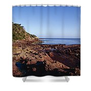 Rockpools In Volcanic Rock Formations Shower Curtain