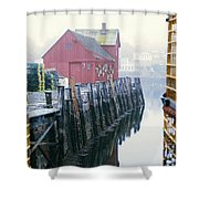 Rockport Harbor And Cages Shower Curtain