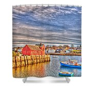 Rockport Water Color - Greeting Card Shower Curtain