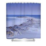 Rocks Fighting Against The Waves Shower Curtain