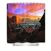 Rocky Buttes Viewed Through Canyon Shower Curtain