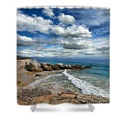 Rocky Coast In Malibu California Shower Curtain