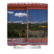 Rocky Mountain Autumn Red Rustic Picture Window Frame Photos Art Shower Curtain