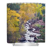 Rocky Mountain Golden Canyon Scenic View Shower Curtain