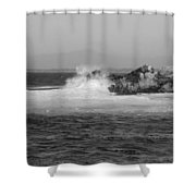 Rocky Outcrop Waves Shower Curtain