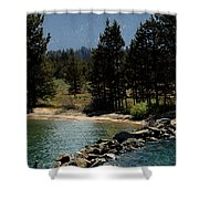 Rocky Retaining Wall Lake Tahoe Shower Curtain