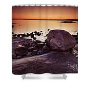 Rocky Shore At Twilight Shower Curtain