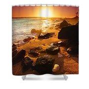 Rocky Shoreline In Hawaii Shower Curtain