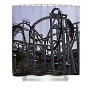 Roller Coaster Rides Inside The Universal Studio Park In Sentosa Shower Curtain