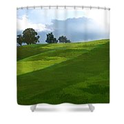 Rolling Green Fields At End Of Day  Shower Curtain
