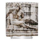 Roman Statue With Pigeon And Wildflowers Shower Curtain