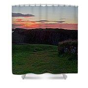 Roman Wall Sunrise Shower Curtain
