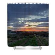 Roman Wall Sunrise II Shower Curtain