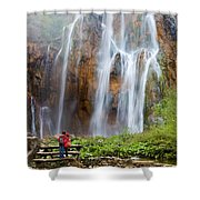 Romantic Scenery By The Waterfall Shower Curtain