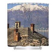 Roof With Chimney And Snow-capped Mountain Shower Curtain