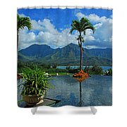 Rooftop Fountain In Paradise Shower Curtain