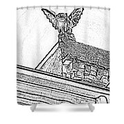 Rooftop Gargoyle Statue Above French Quarter New Orleans Black And White Photocopy Digital Art Shower Curtain