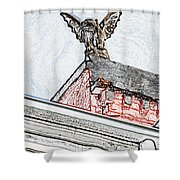 Rooftop Gargoyle Statue Above French Quarter New Orleans Colored Pencil Digital Art Shower Curtain