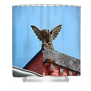 Rooftop Gargoyle Statue Above French Quarter New Orleans Film Grain Digital Art Shower Curtain