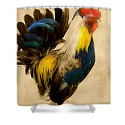 Rooster On The Prowl 2 - Vintage Tonal Shower Curtain