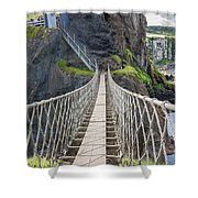 Rope Bridge At Carrick-a-rede In Northern Island Shower Curtain