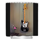 Rose And Bass Guitar Shower Curtain