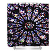 Rose Window In The Notre Dame Cathedral Shower Curtain by Axiom Photographic