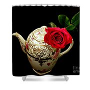 Rose With China Teapot Shower Curtain