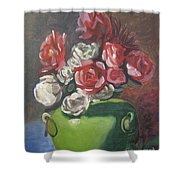 Roses And Green Vase Shower Curtain