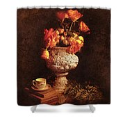 Roses In Urn Shower Curtain