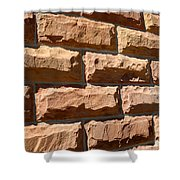 Rough Hewn Sandstone Brick Wall Of A Historic Building Shower Curtain