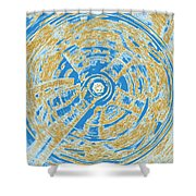 Round And Round Blue And Gold Shower Curtain