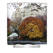 Round Autumn Trees Shower Curtain