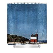Round Island Lighthouse In Michigan Shower Curtain