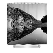 Round The Bend Buffalo River In Black And White Shower Curtain