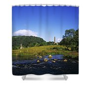 Round Tower And River In The Forest Shower Curtain