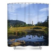 Round Tower In The Forest Glendalough Shower Curtain