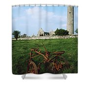 Round Tower, Kilmacduagh Near Gort, Co Shower Curtain