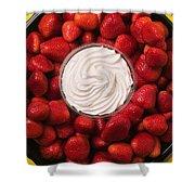 Round Tray Of Strawberries  Shower Curtain