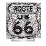 Route 66 Coke Ford Mustang Mosaic Shower Curtain