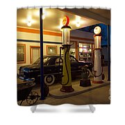 Route 66 Garage At Night Shower Curtain