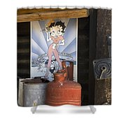 Route 66 Garage Interior Shower Curtain