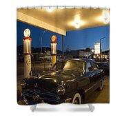 Route 66 Garage Scene Shower Curtain