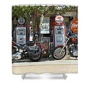 Route 66 Gas Pumps Shower Curtain