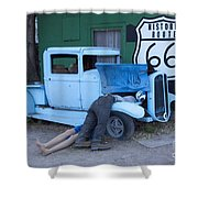Route 66 Repair Shop Shower Curtain