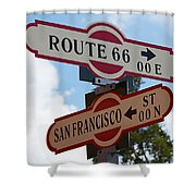 Route 66 Street Sign Shower Curtain